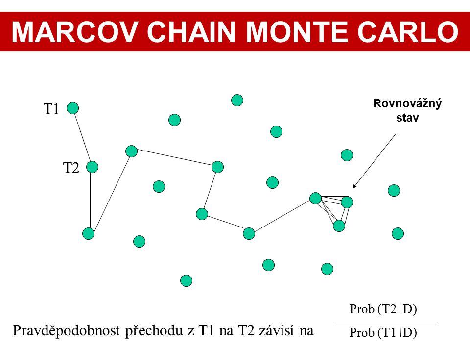T1 T2 Pravděpodobnost přechodu z T1 na T2 závisí na Prob (T2 D) Prob (T1 D) Rovnovážný stav MARCOV CHAIN MONTE CARLO