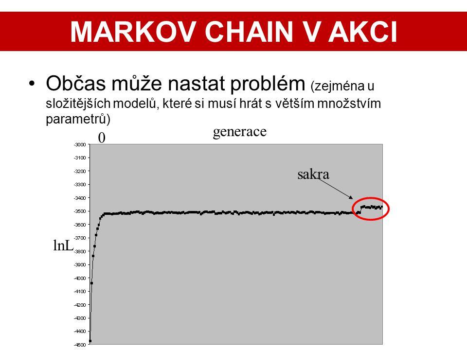27 Občas může nastat problém (zejména u složitějších modelů, které si musí hrát s větším množstvím parametrů) lnL 0 generace sakra MARKOV CHAIN V AKCI