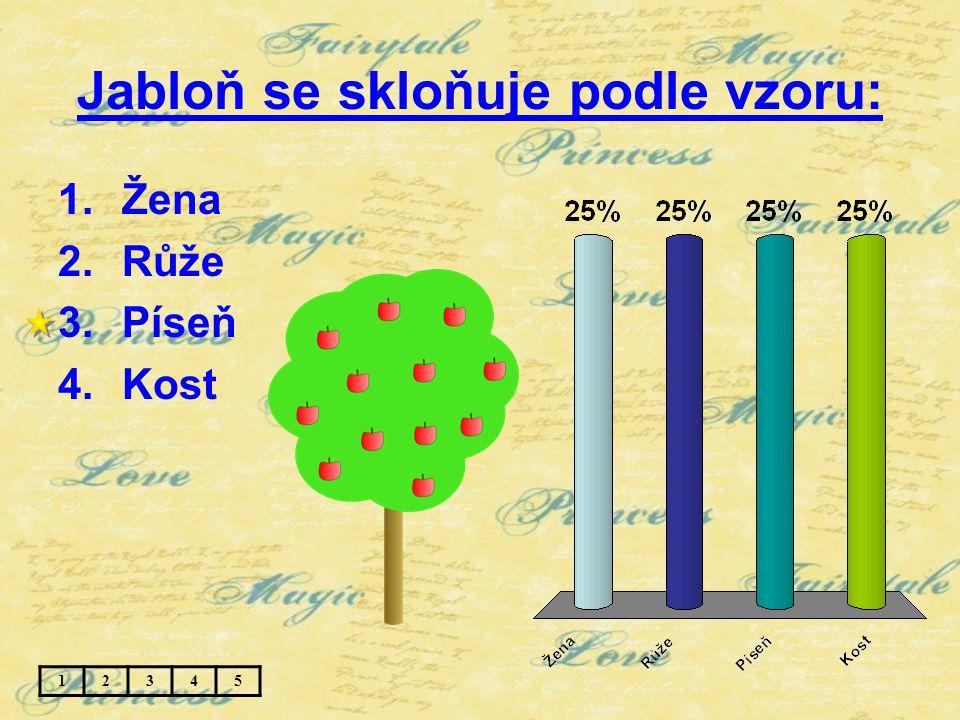 Jabloň se skloňuje podle vzoru: 1.Žena 2.Růže 3.Píseň 4.Kost 12345