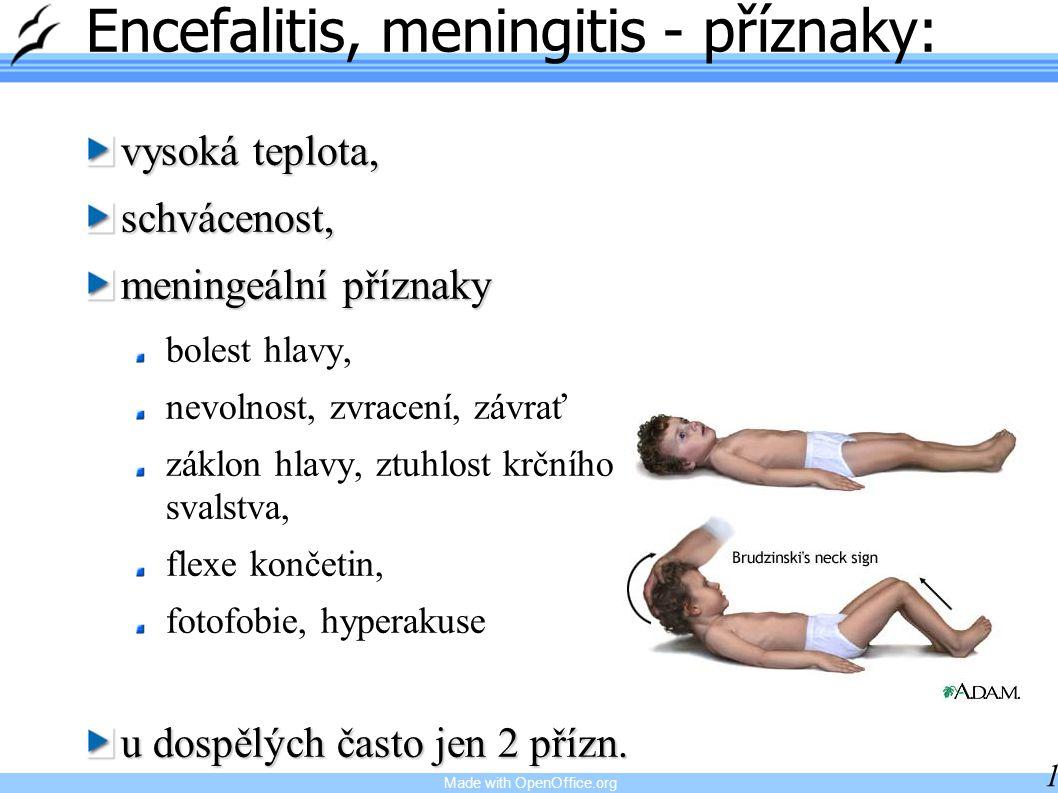 Made with OpenOffice.org 18 Encefalitis, meningitis - příznaky: vysoká teplota, schvácenost, meningeální příznaky bolest hlavy, nevolnost, zvracení, z
