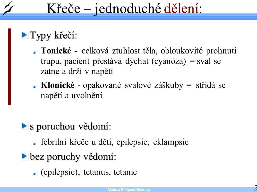 Made with OpenOffice.org 28 Křeče – jednoduché dělení: Typy křečí: Tonické - celková ztuhlost těla, obloukovité prohnutí trupu, pacient přestává dýcha
