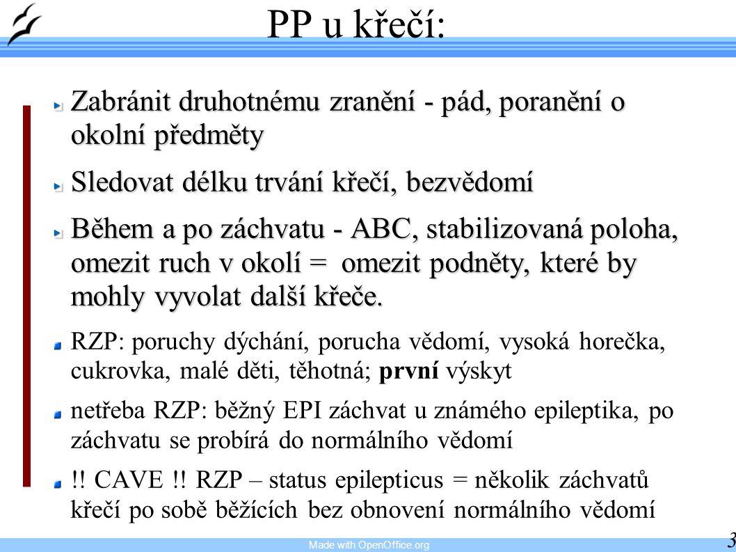 Made with OpenOffice.org 30 PP u křečí: Zabránit druhotnému zranění - pád, poranění o okolní předměty Sledovat délku trvání křečí, bezvědomí Během a p