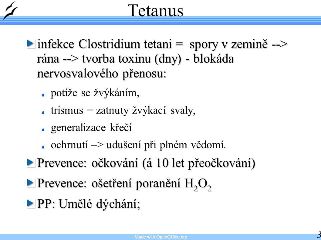Made with OpenOffice.org 35 Tetanus infekce Clostridium tetani = spory v zemině --> rána --> tvorba toxinu (dny) - blokáda nervosvalového přenosu: pot