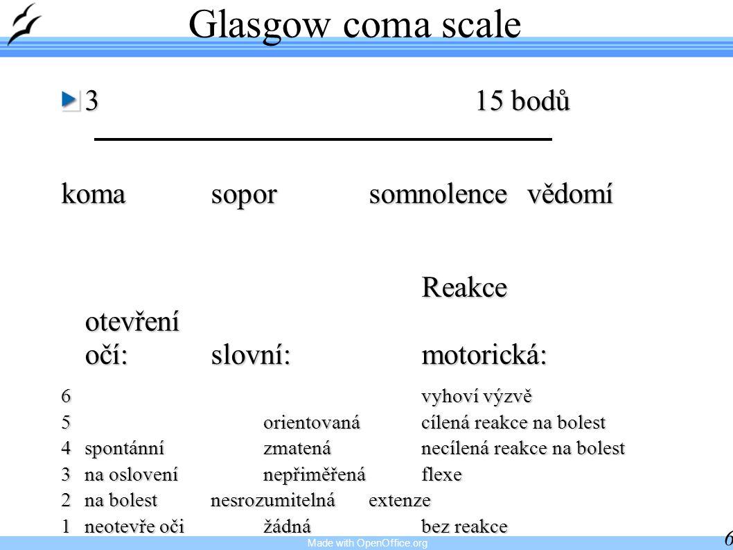 Made with OpenOffice.org 6 Glasgow coma scale 315 bodů komasoporsomnolencevědomí Reakce otevření očí:slovní:motorická: Reakce otevření očí:slovní:moto