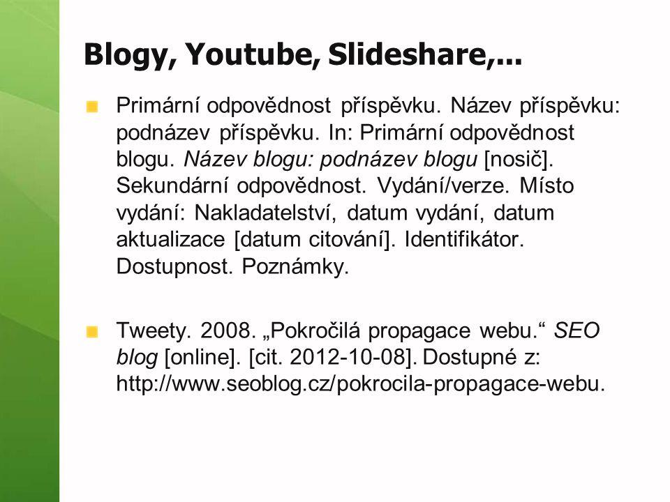 Blogy, Youtube, Slideshare,... Primární odpovědnost příspěvku. Název příspěvku: podnázev příspěvku. In: Primární odpovědnost blogu. Název blogu: podná