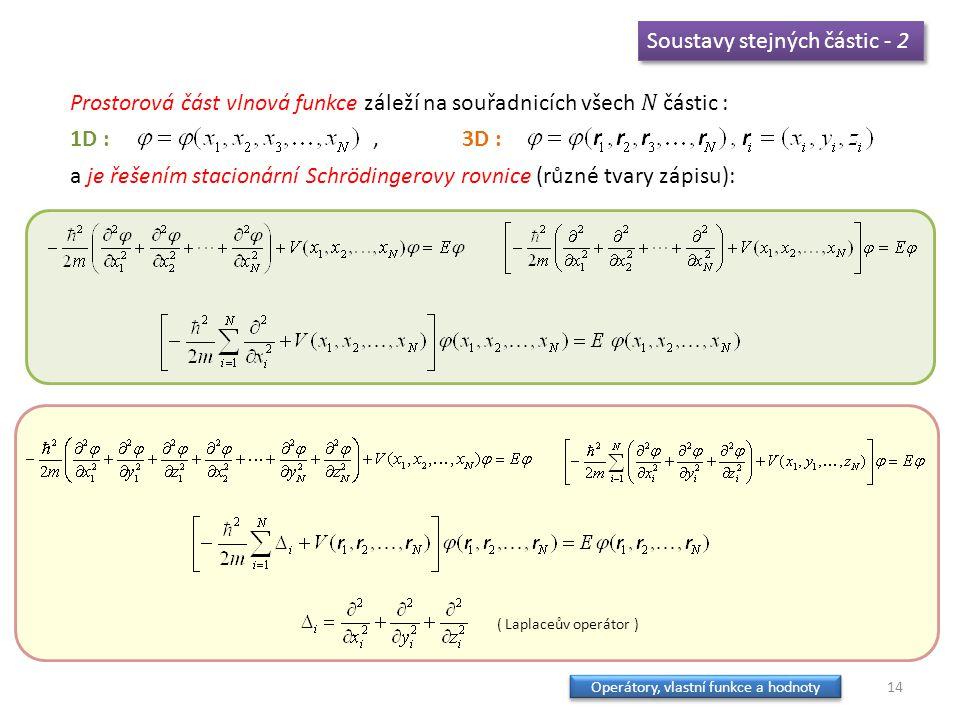 Soustavy stejných částic - 2 Prostorová část vlnová funkce záleží na souřadnicích všech N částic : 1D :, 3D : a je řešením stacionární Schrödingerovy rovnice (různé tvary zápisu): ( Laplaceův operátor ) 14 Operátory, vlastní funkce a hodnoty Operátory, vlastní funkce a hodnoty