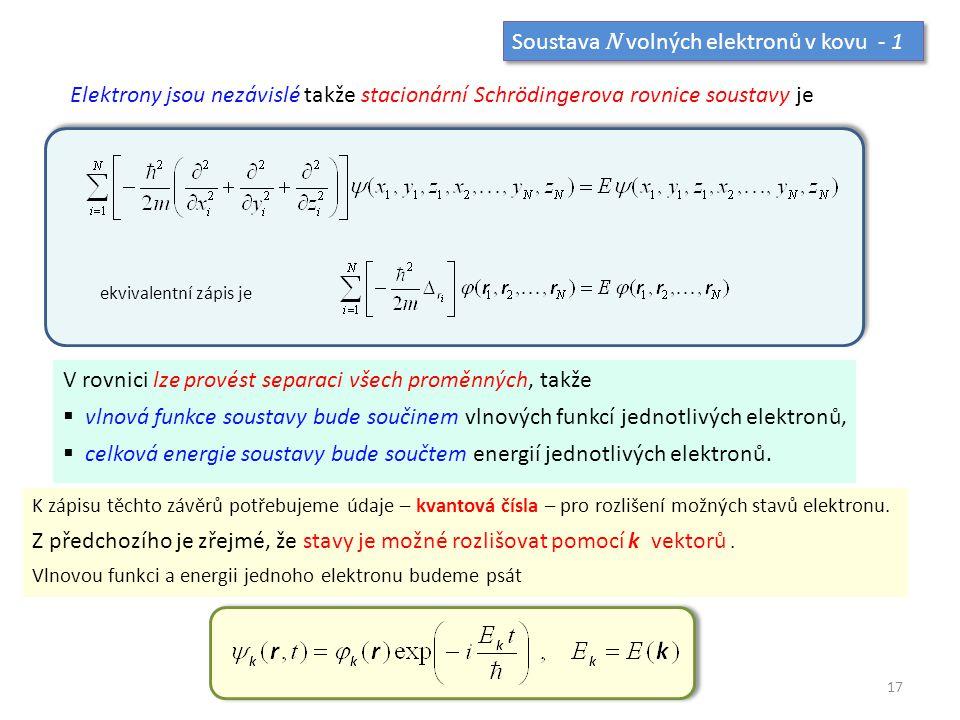 Soustava N volných elektronů v kovu - 1 Elektrony jsou nezávislé takže stacionární Schrödingerova rovnice soustavy je V rovnici lze provést separaci v