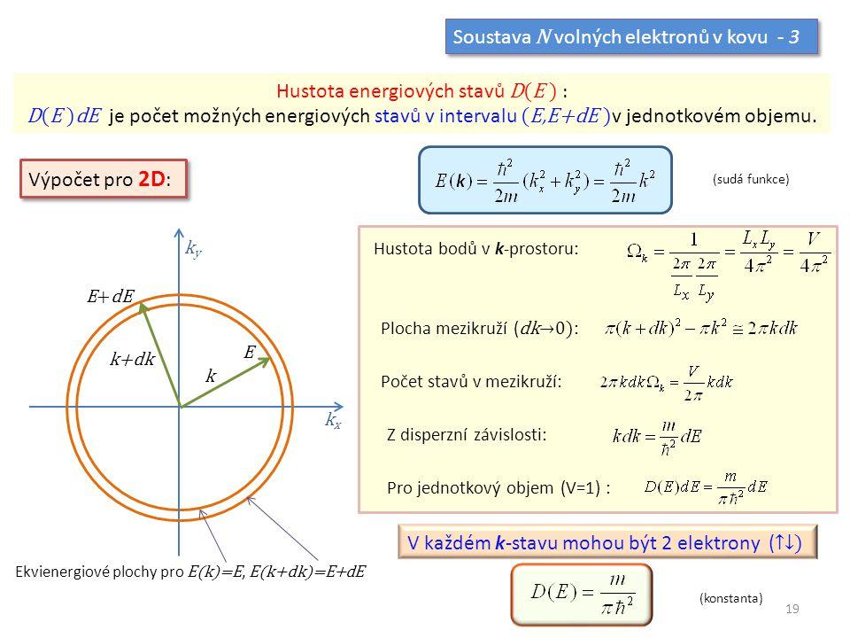 Soustava N volných elektronů v kovu - 3 Hustota energiových stavů D(E ) : D(E )dE je počet možných energiových stavů v intervalu (E,E+dE ) v jednotkov