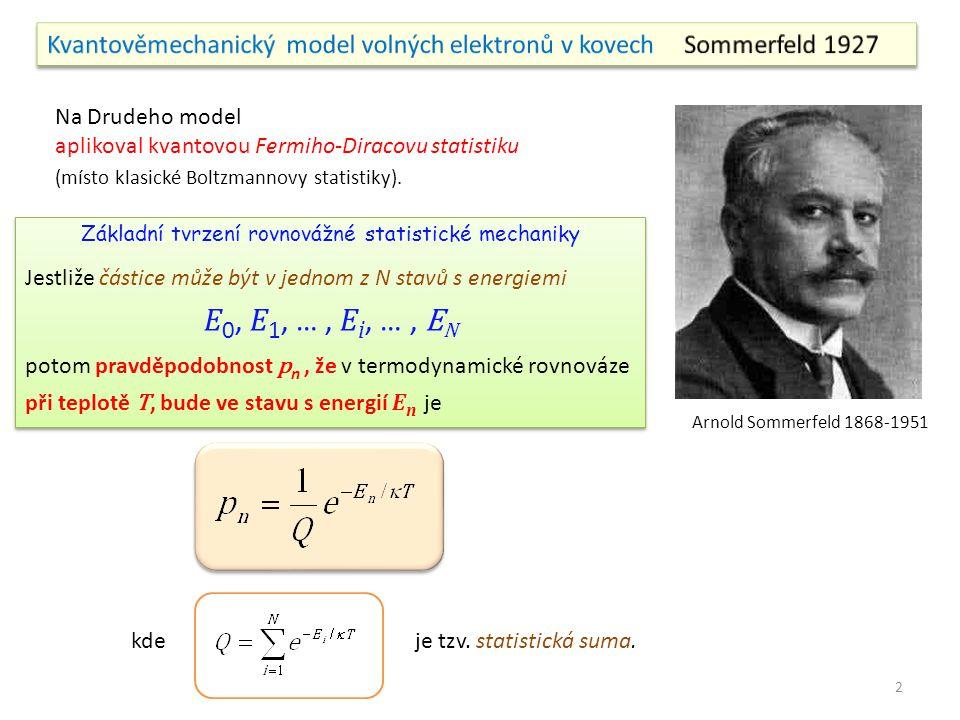 Arnold Sommerfeld 1868-1951 Na Drudeho model aplikoval kvantovou Fermiho-Diracovu statistiku (místo klasické Boltzmannovy statistiky). Základní tvrzen