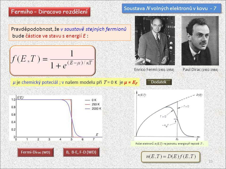 Soustava N volných elektronů v kovu - 7 Fermiho – Diracovo rozdělení Pravděpodobnost, že v soustavě stejných fermionů bude částice ve stavu s energií E : E f(E) Fermi-Di rac (WD) B, B-E, F-D (WD) D(E)n(E,T) E EFEF Počet elektronů n(E,T) na jednotku energie při teplotě T.