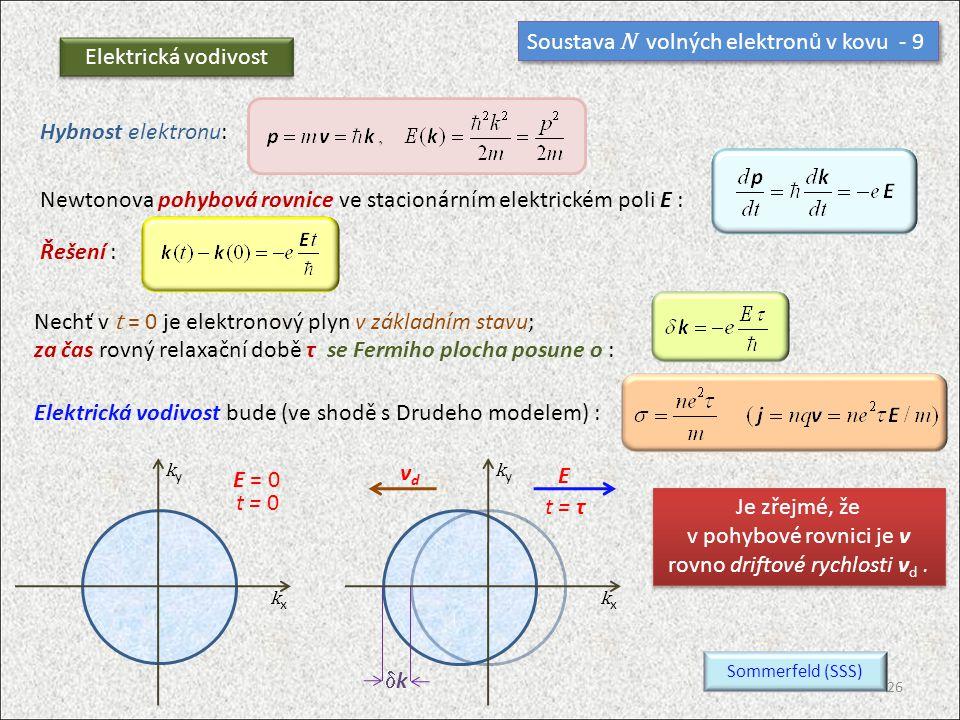 Soustava N volných elektronů v kovu - 9 Elektrická vodivost Hybnost elektronu: Newtonova pohybová rovnice ve stacionárním elektrickém poli E : Řešení