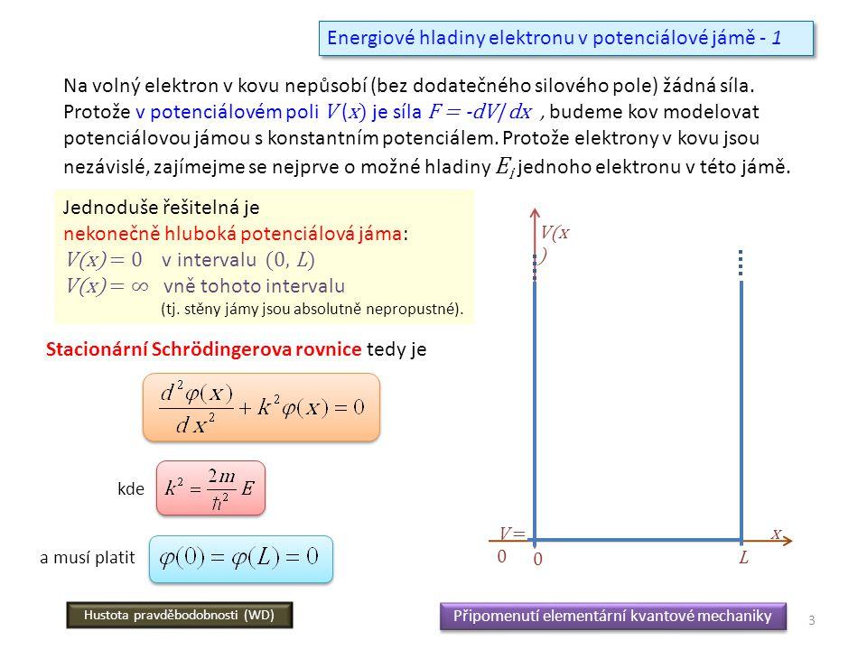 Energiové hladiny elektronu v potenciálové jámě - 1 Na volný elektron v kovu nepůsobí (bez dodatečného silového pole) žádná síla. Protože v potenciálo