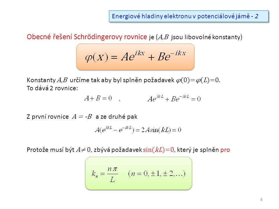 Energiové hladiny elektronu v potenciálové jámě - 2 Obecné řešení Schrödingerovy rovnice je ( A,B jsou libovolné konstanty) Konstanty A,B určíme tak aby byl splněn požadavek φ(0)=φ(L)=0.