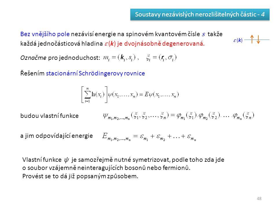 48 Soustavy nezávislých nerozlišitelných částic - 4 Bez vnějšího pole nezávisí energie na spinovém kvantovém čísle s takže každá jednočásticová hladin