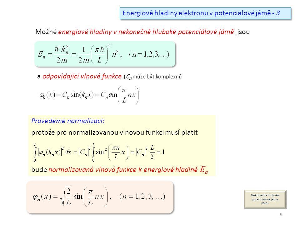 Energiové hladiny elektronu v potenciálové jámě - 3 Provedeme normalizaci: protože pro normalizovanou vlnovou funkci musí platit bude normalizovaná vl