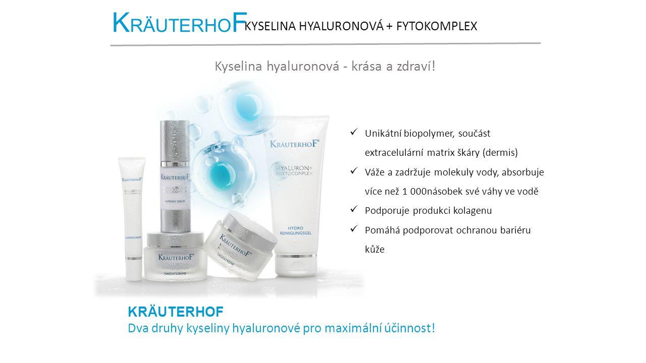 K RÄUTERHO F KYSELINA HYALURONOVÁ + FYTOKOMPLEX Kyselina hyaluronová - krása a zdraví! Unikátní biopolymer, součást extracelulární matrix škáry (dermi