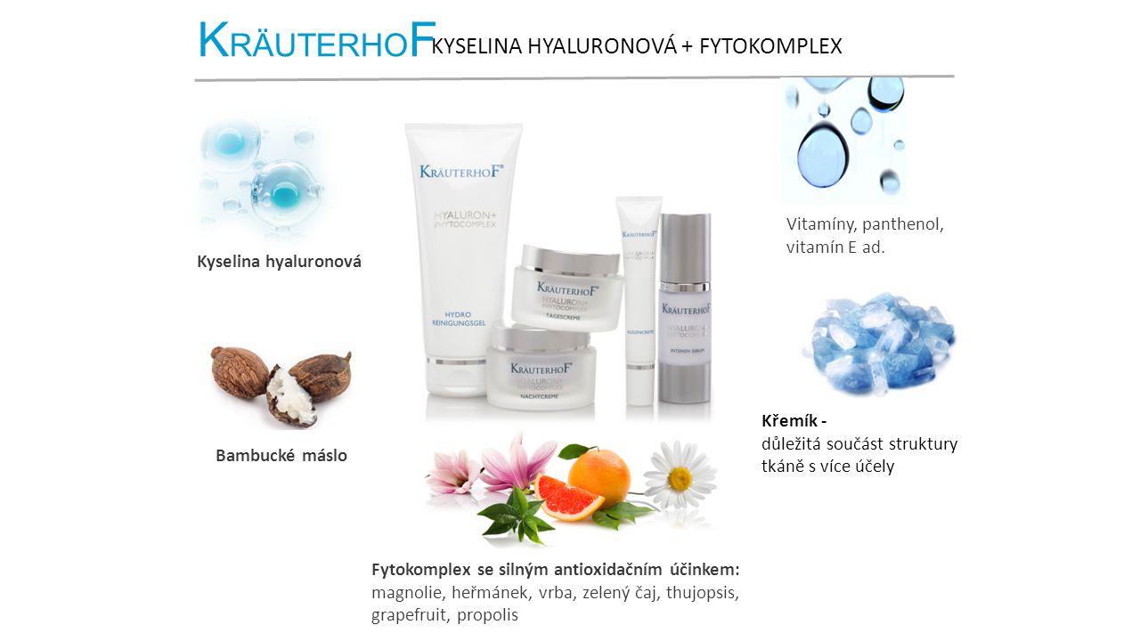 K RÄUTERHO F KYSELINA HYALURONOVÁ + FYTOKOMPLEX Kyselina hyaluronová Bambucké máslo Fytokomplex se silným antioxidačním účinkem: magnolie, heřmánek, vrba, zelený čaj, thujopsis, grapefruit, propolis Křemík - důležitá součást struktury tkáně s více účely Vitamíny, panthenol, vitamín E ad.