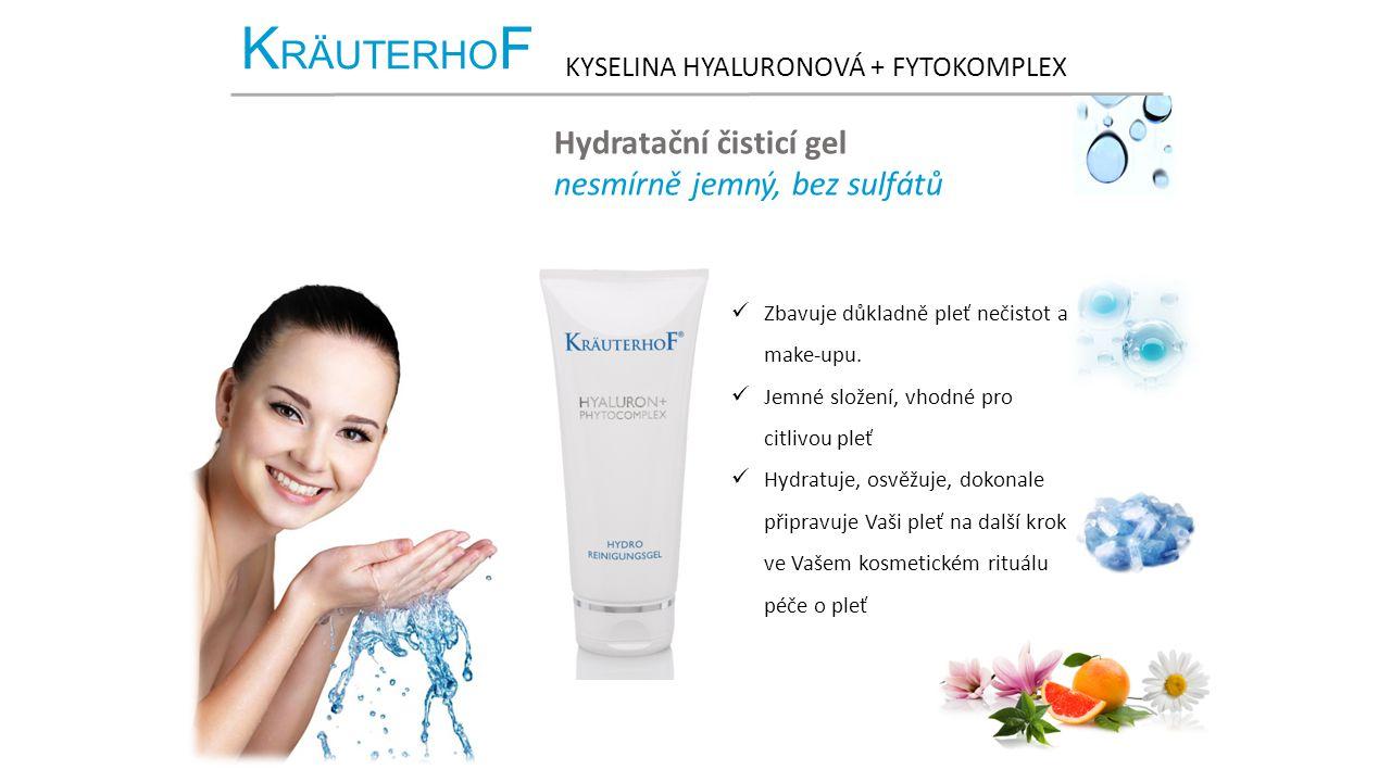 K RÄUTERHO F KYSELINA HYALURONOVÁ + FYTOKOMPLEX Hydratační čisticí gel nesmírně jemný, bez sulfátů Zbavuje důkladně pleť nečistot a make-upu.