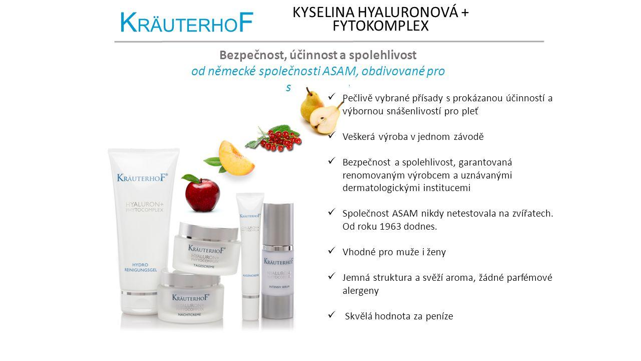 K RÄUTERHO F KYSELINA HYALURONOVÁ + FYTOKOMPLEX Bezpečnost, účinnost a spolehlivost od německé společnosti ASAM, obdivované pro svou kvalitu Pečlivě v