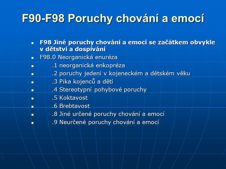 F90-F98 Poruchy chování a emocí F98 Jiné poruchy chování a emocí se začátkem obvykle v dětství a dospívání F98 Jiné poruchy chování a emocí se začátke