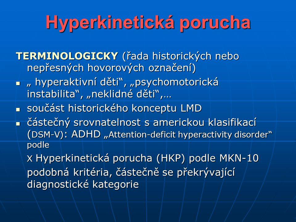 """Hyperkinetická porucha TERMINOLOGICKY (řada historických nebo nepřesných hovorových označení) """" hyperaktivní děti"""", """"psychomotorická instabilita"""", """"ne"""
