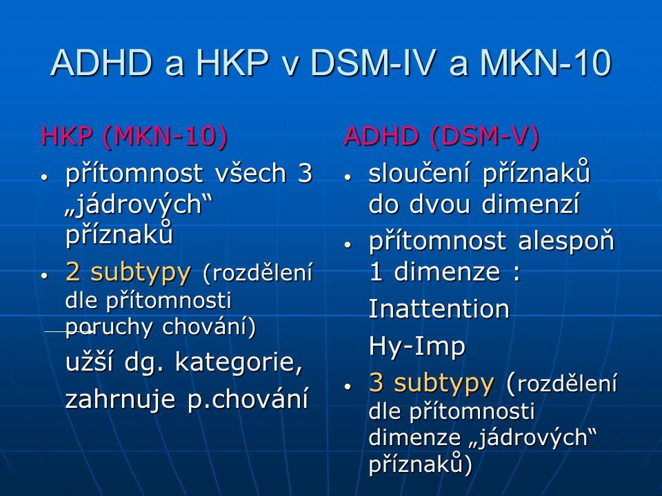 """ADHD a HKP v DSM-IV a MKN-10 HKP (MKN-10) přítomnost všech 3 """"jádrových"""" příznaků přítomnost všech 3 """"jádrových"""" příznaků 2 subtypy (rozdělení dle pří"""