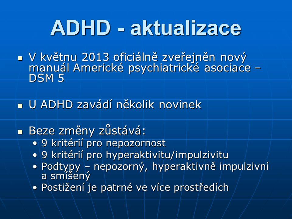 ADHD - aktualizace V květnu 2013 oficiálně zveřejněn nový manuál Americké psychiatrické asociace – DSM 5 V květnu 2013 oficiálně zveřejněn nový manuál