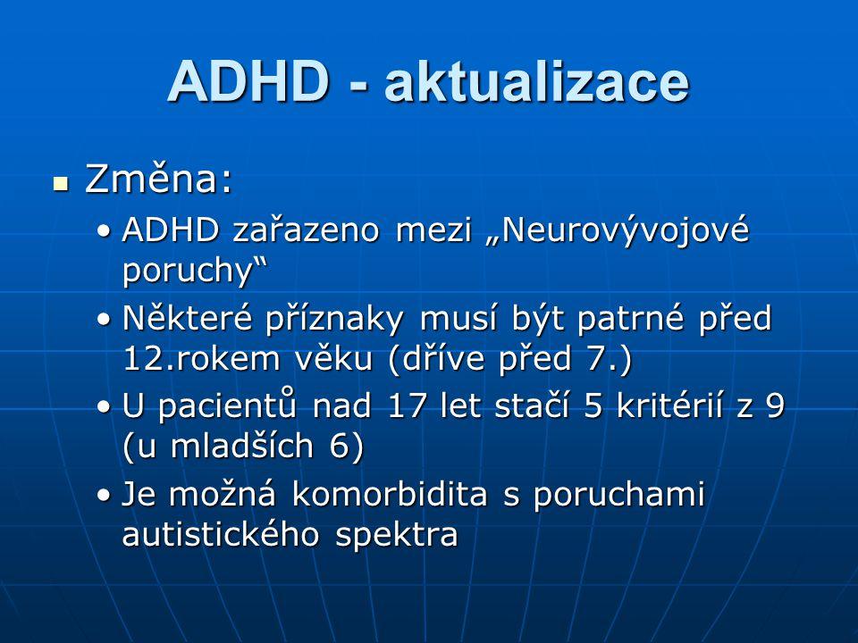 """ADHD - aktualizace Změna: Změna: ADHD zařazeno mezi """"Neurovývojové poruchy""""ADHD zařazeno mezi """"Neurovývojové poruchy"""" Některé příznaky musí být patrné"""