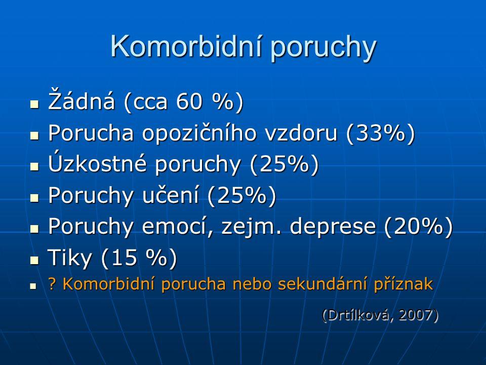 Komorbidní poruchy Žádná (cca 60 %) Žádná (cca 60 %) Porucha opozičního vzdoru (33%) Porucha opozičního vzdoru (33%) Úzkostné poruchy (25%) Úzkostné p