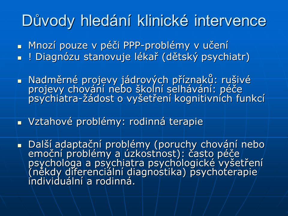 Důvody hledání klinické intervence Mnozí pouze v péči PPP-problémy v učení Mnozí pouze v péči PPP-problémy v učení ! Diagnózu stanovuje lékař (dětský