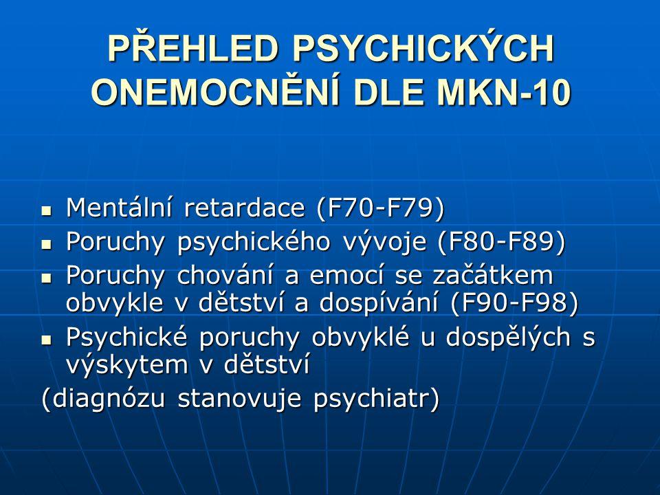 PŘEHLED PSYCHICKÝCH ONEMOCNĚNÍ DLE MKN-10 Mentální retardace (F70-F79) Mentální retardace (F70-F79) Poruchy psychického vývoje (F80-F89) Poruchy psych