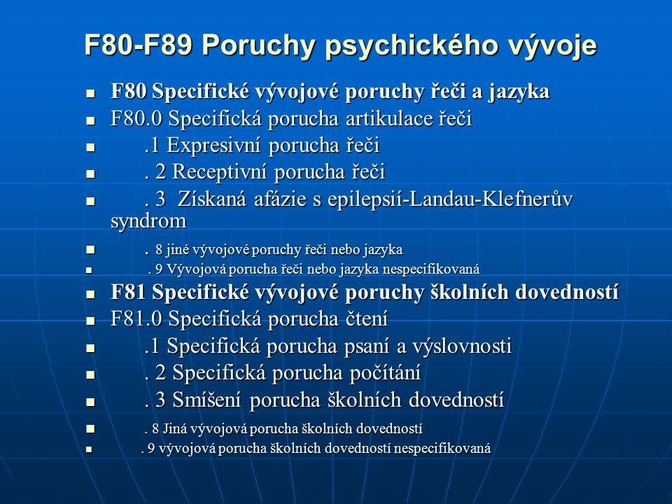 F82 Specifická vývojová porucha motorických funkcí F82 Specifická vývojová porucha motorických funkcí F83 Smíšené specifické vývojové poruchy F83 Smíšené specifické vývojové poruchy F84 pervazivní vývojové poruchy F84 pervazivní vývojové poruchy