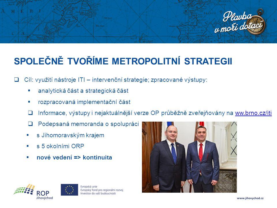 SPOLEČNĚ TVOŘÍME METROPOLITNÍ STRATEGII  Cíl: využití nástroje ITI – intervenční strategie; zpracované výstupy:  analytická část a strategická část