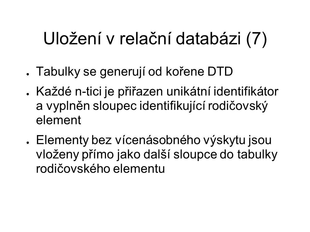 Uložení v relační databázi (7) ● Tabulky se generují od kořene DTD ● Každé n-tici je přiřazen unikátní identifikátor a vyplněn sloupec identifikující