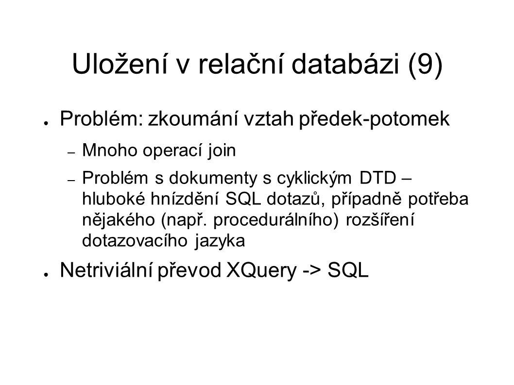 Uložení v relační databázi (9) ● Problém: zkoumání vztah předek-potomek – Mnoho operací join – Problém s dokumenty s cyklickým DTD – hluboké hnízdění