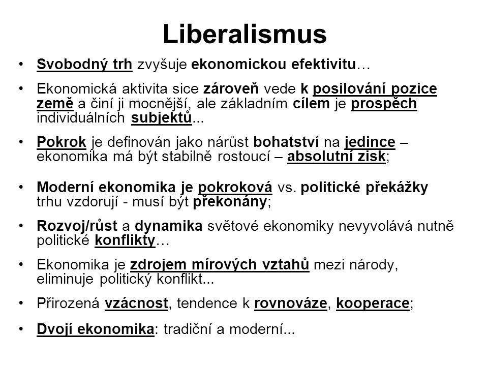 Liberalismus Svobodný trh zvyšuje ekonomickou efektivitu… Ekonomická aktivita sice zároveň vede k posilování pozice země a činí ji mocnější, ale zákla