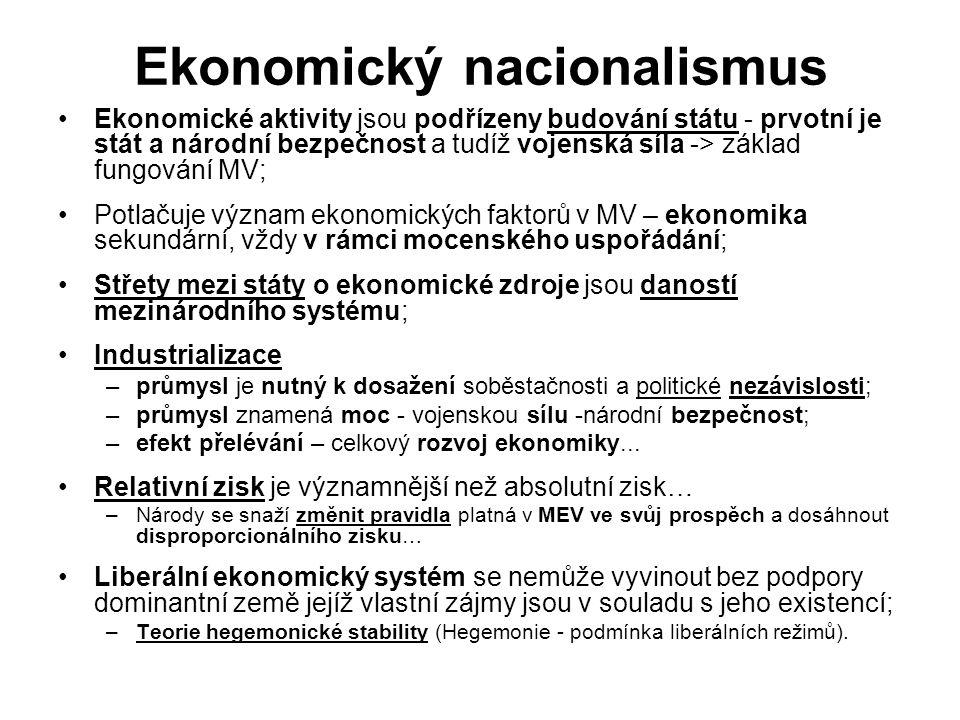 Ekonomický nacionalismus Ekonomické aktivity jsou podřízeny budování státu - prvotní je stát a národní bezpečnost a tudíž vojenská síla -> základ fung