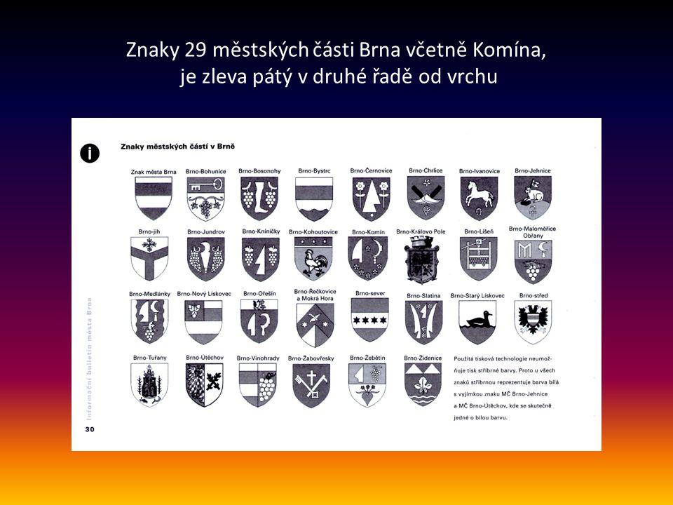 Orientační mapa, kde jsou uvedeny městské části v Brně včetně KOMÍNA