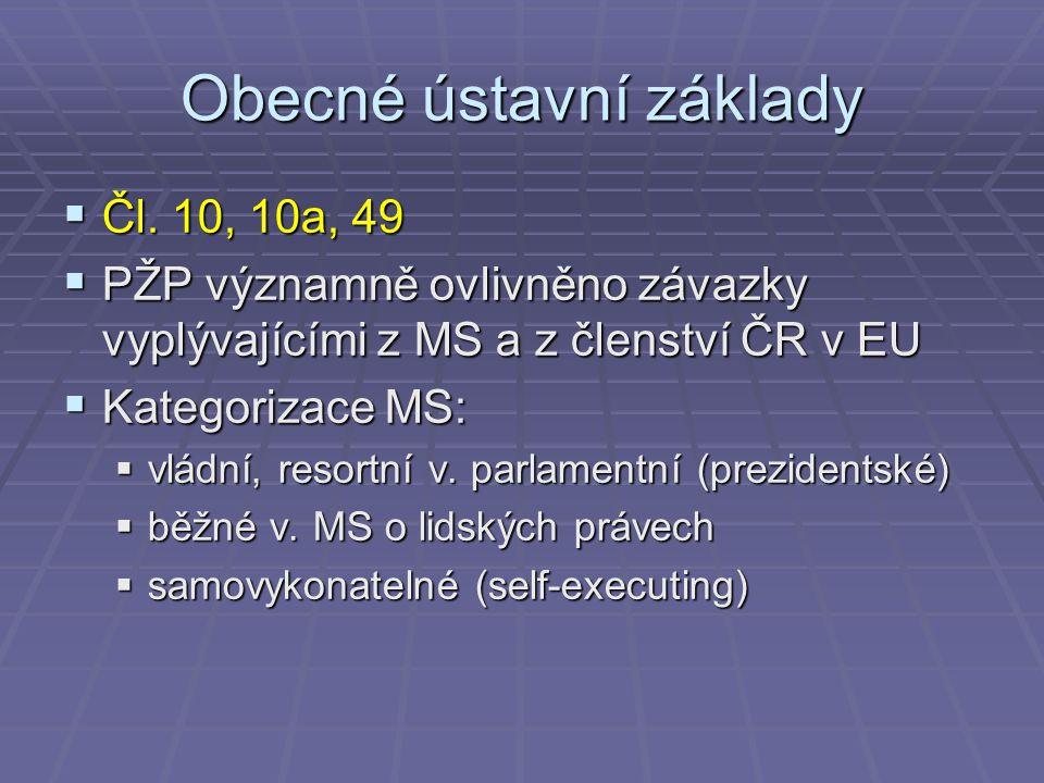 Obecné ústavní základy  Čl. 10, 10a, 49  PŽP významně ovlivněno závazky vyplývajícími z MS a z členství ČR v EU  Kategorizace MS:  vládní, resortn