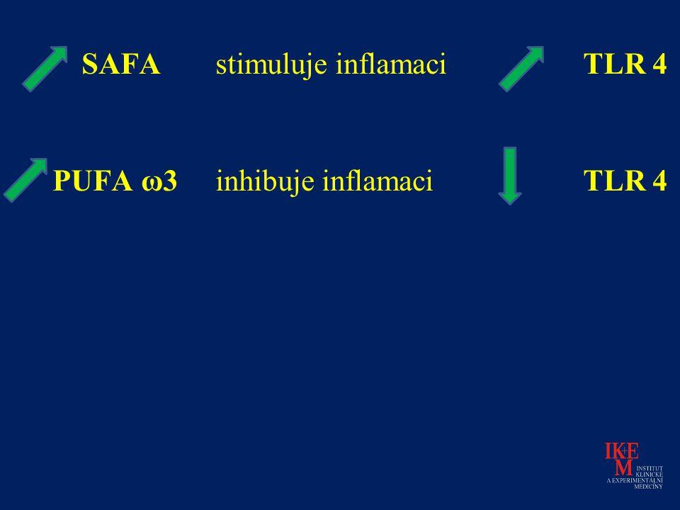 SAFA stimuluje inflamaci TLR 4 PUFA ω3 inhibuje inflamaci TLR 4