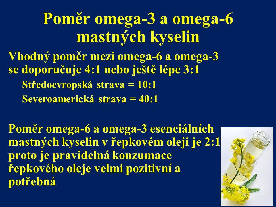 Poměr omega-3 a omega-6 mastných kyselin Vhodný poměr mezi omega-6 a omega-3 se doporučuje 4:1 nebo ještě lépe 3:1 Středoevropská strava = 10:1 Severo