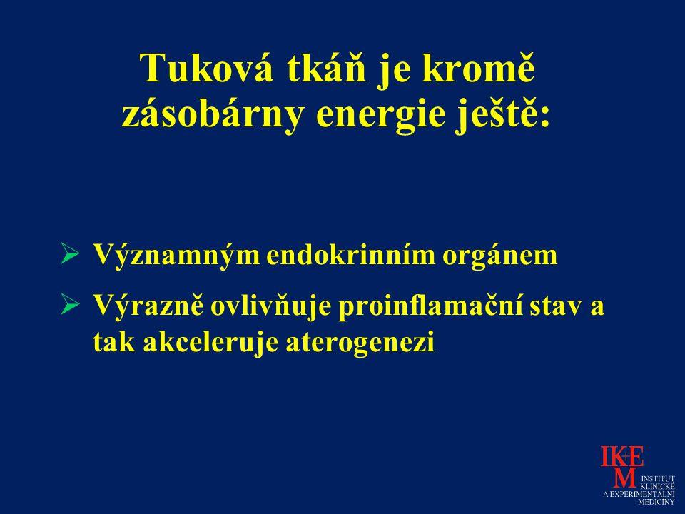 Tuková tkáň je kromě zásobárny energie ještě:  Významným endokrinním orgánem  Výrazně ovlivňuje proinflamační stav a tak akceleruje aterogenezi