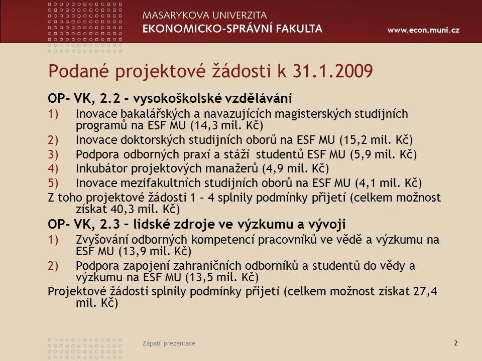 """www.econ.muni.cz Zápatí prezentace3 Připravované projektové žádosti k 31.1.2009 - 1 OP- VK, 2.4 – partnerství a sítě – výzva MŠMT bude zveřejněna v prvním týdnu února 1) Společně s Právnickou fakultou je připravován projektový záměr na vytvoření """"Centra ekonomických a právních studií , které by mělo sloužit jako podpůrná platforma pro společné aktivity v těchto oblastech: Finance a právo, Insolvence, Finanční gramotnost, Projektové řízení, Mezinárodní obchod, Ochrana spotřebitele, Veřejná správa, Duševní vlastnictví."""