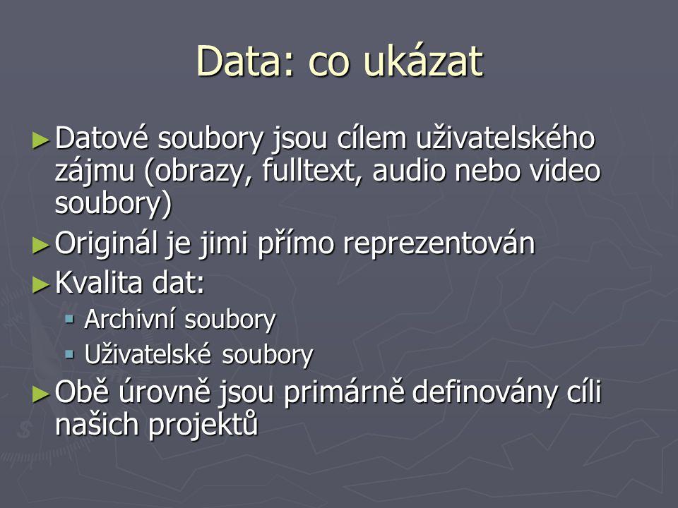 Data: co ukázat ► Datové soubory jsou cílem uživatelského zájmu (obrazy, fulltext, audio nebo video soubory) ► Originál je jimi přímo reprezentován ►