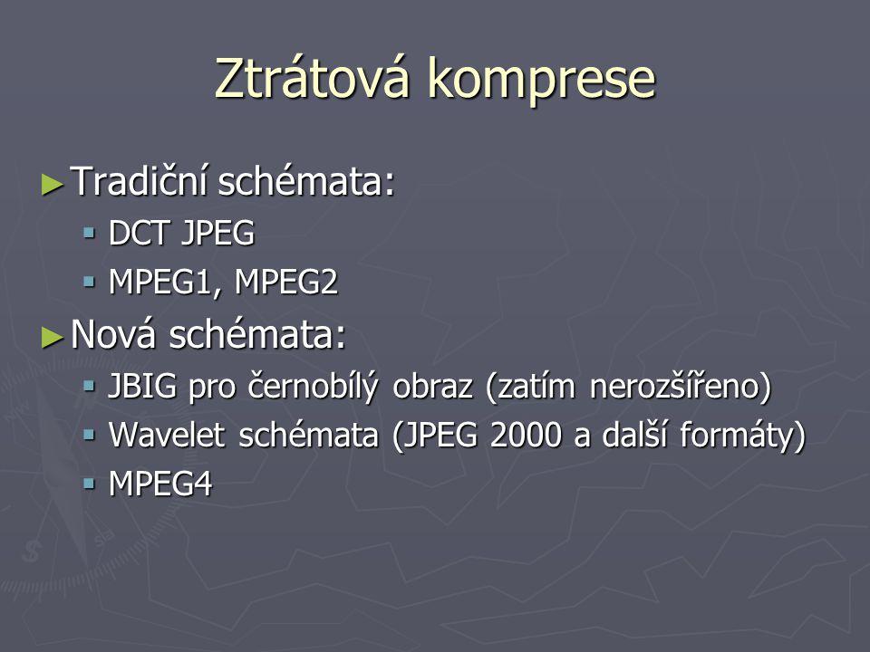 Ztrátová komprese ► Tradiční schémata:  DCT JPEG  MPEG1, MPEG2 ► Nová schémata:  JBIG pro černobílý obraz (zatím nerozšířeno)  Wavelet schémata (J