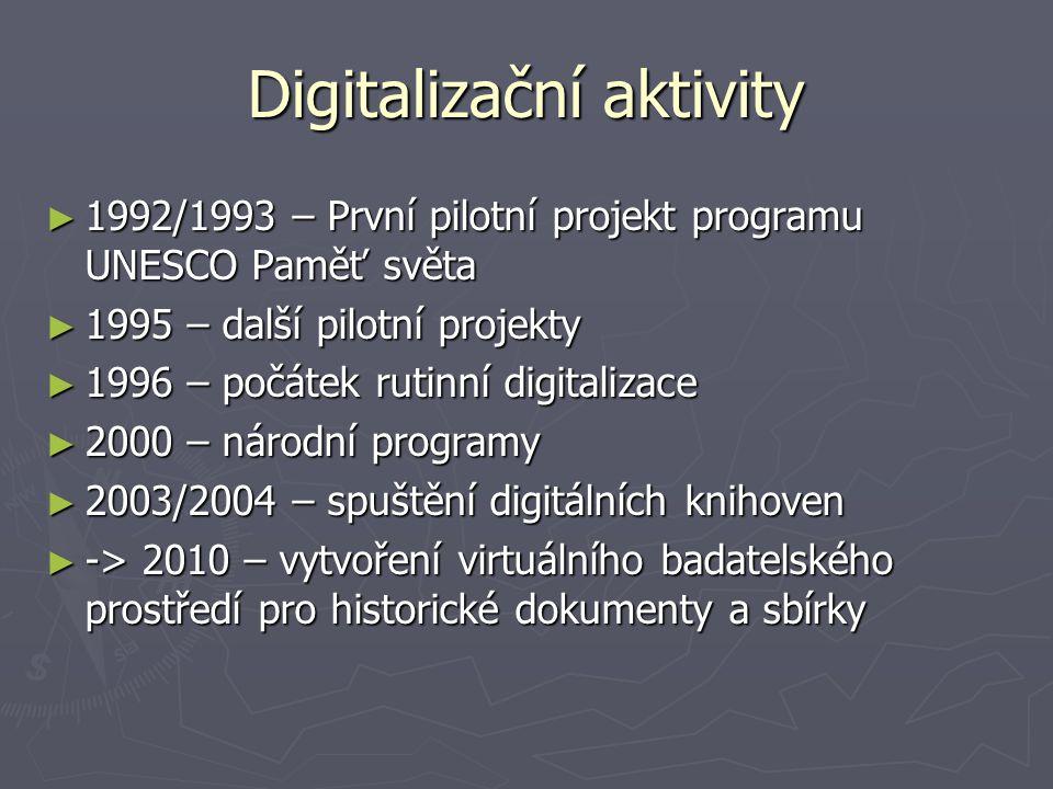 Digitalizační aktivity ► 1992/1993 – První pilotní projekt programu UNESCO Paměť světa ► 1995 – další pilotní projekty ► 1996 – počátek rutinní digita