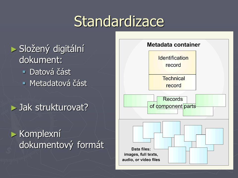 Standardizace ► Složený digitální dokument:  Datová část  Metadatová část ► Jak strukturovat? ► Komplexní dokumentový formát