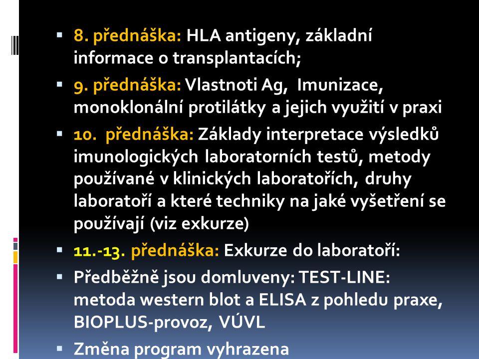  8. přednáška: HLA antigeny, základní informace o transplantacích;  9.