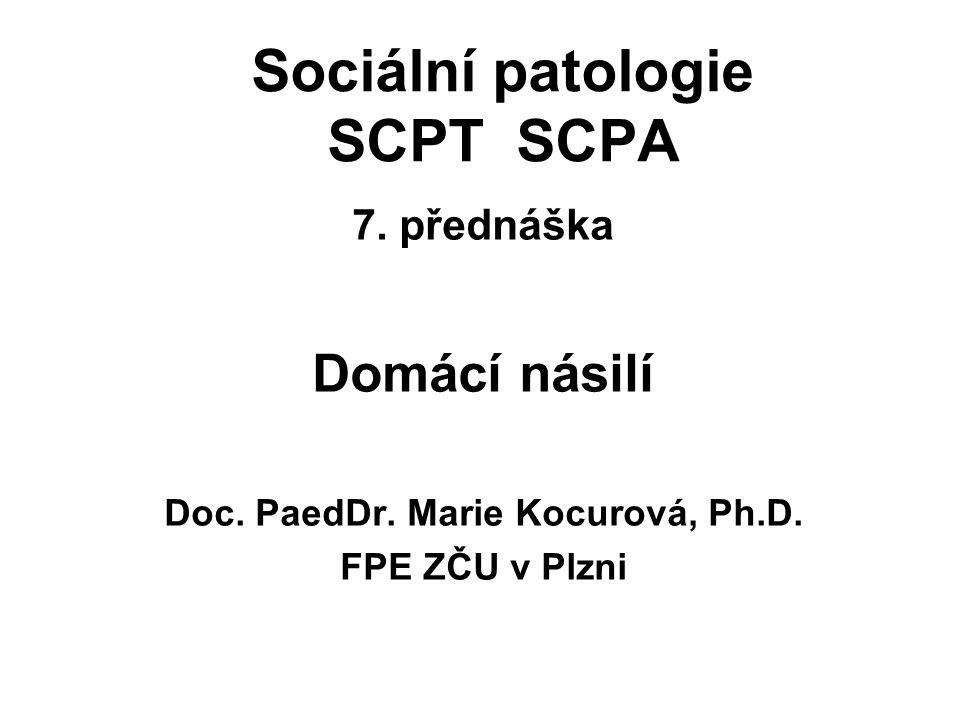 Sociální patologie SCPT SCPA 7. přednáška Domácí násilí Doc. PaedDr. Marie Kocurová, Ph.D. FPE ZČU v Plzni