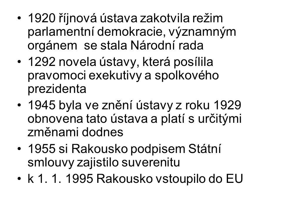 do roku 1918 se systém organizoval na bázi 3 táborů: 1)křesťansko-konzervativní 2)socialistický 3)nacionálně-liberální po roce 1918 kvůli problémům spojeným se ekonomickou, sociální a politickou nestabilitou v souvislosti se vznikem samostatného Rakouska je systém primárně formován CSP (křesťansko sociální stranou) a SDAP (sociálně demokratickou dělnickou stranou) 1933 ustanoven autoritativní režim, byla vytvořena Vlastenecká fronta - od jara 34 byla jedinou politickou organizací ztělesňující masové mobilizační hnutí nového režimu po 1945 obnovila svůj život:  ÖVP (Rakouská lidová strana) - deklarovala věrnost parlamentní demokracii a distancovala se od CSP  SPÖ (Socialistická strana Rakouska) - původně SDAP ale nyní v jiné podobě, deklarovala též věrnost parlamentní demokracii